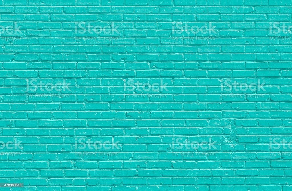 Turquoise brick wall stock photo