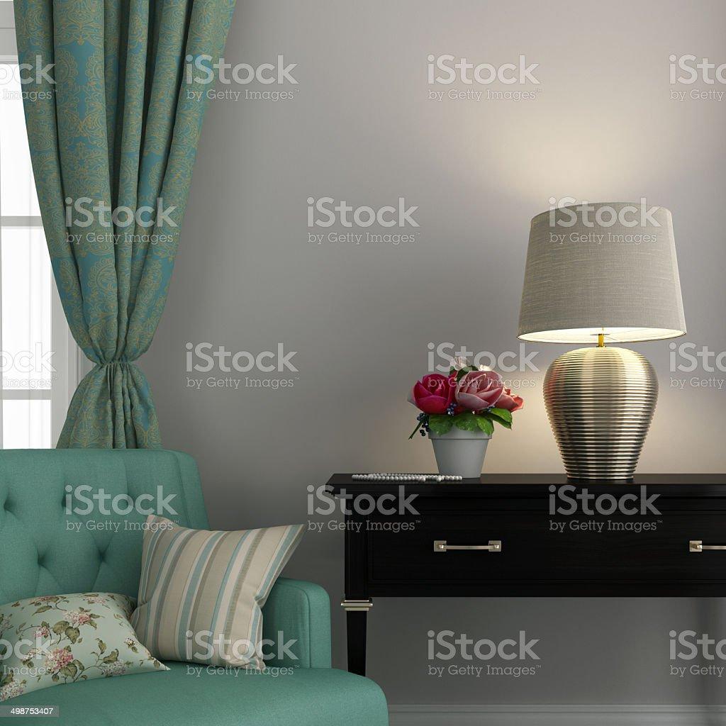 Turkis Stuhl Und Goldene Lampe Stockfoto Und Mehr Bilder Von
