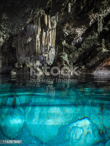beautiful crystal clear water cave near varadero in cuba.