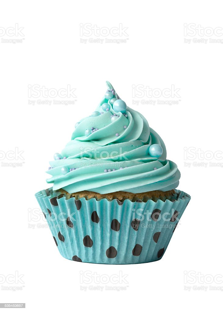 Turquoise cupcake on white stock photo