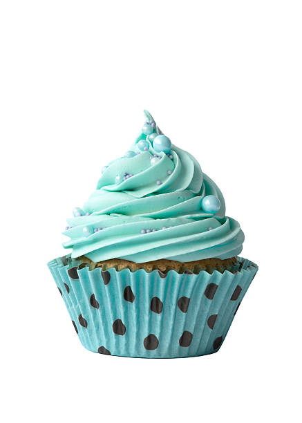 Turquoise cupcake on white Cupcake decorated with turquoise frosting cupcake stock pictures, royalty-free photos & images