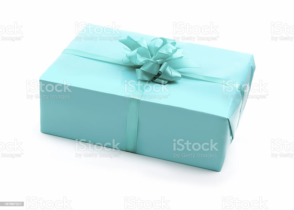 turquoise Gift boxwith loop on white isolated royalty-free stock photo