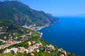 Turquoise Italian Amalfi Coast aerial panorama from Ravello terrace