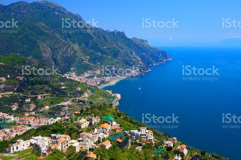 Turquoise Italian Amalfi Coast aerial panorama from Ravello terrace stock photo