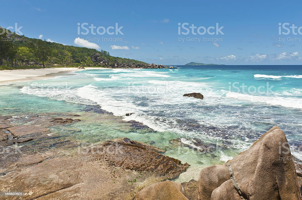 Turquoise lagoon tropical island ocean beach royalty-free stock photo