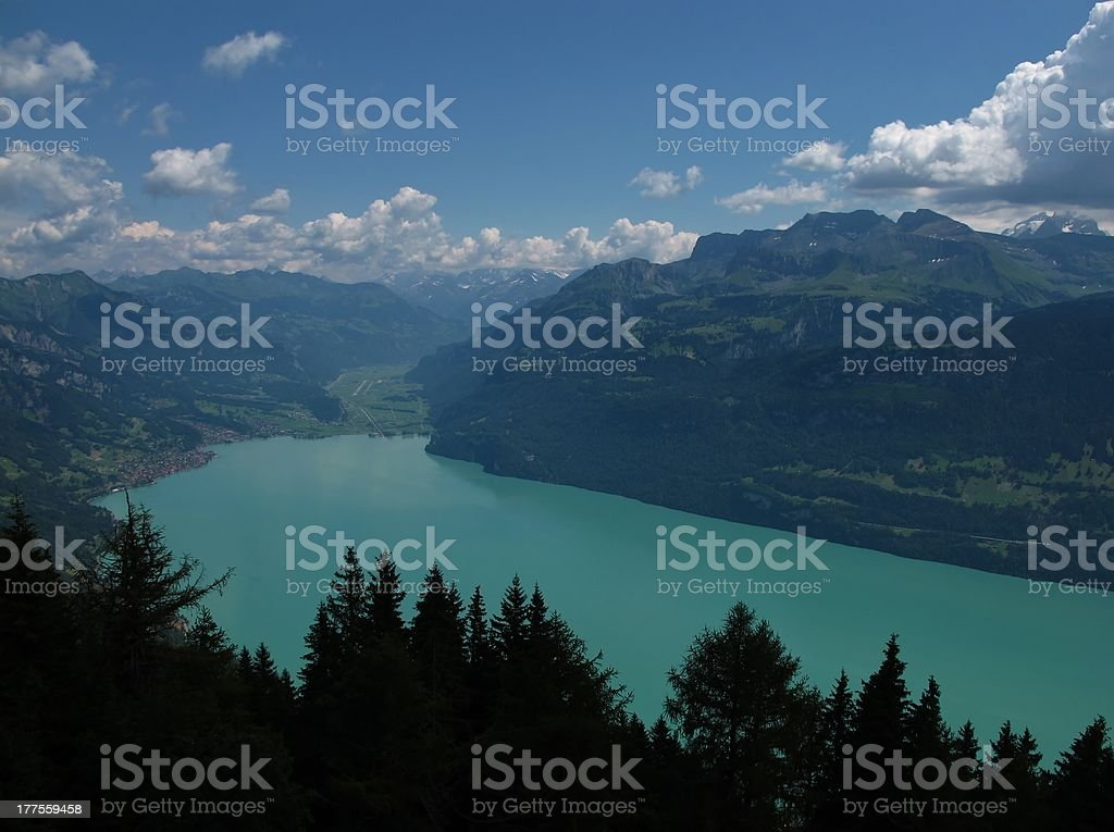Turquoise Lake Brienzersee stock photo