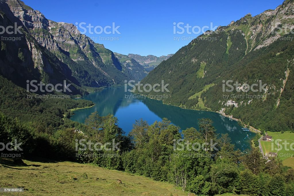 Turquoise lake Klontalersee, view from Schwammhohe stock photo