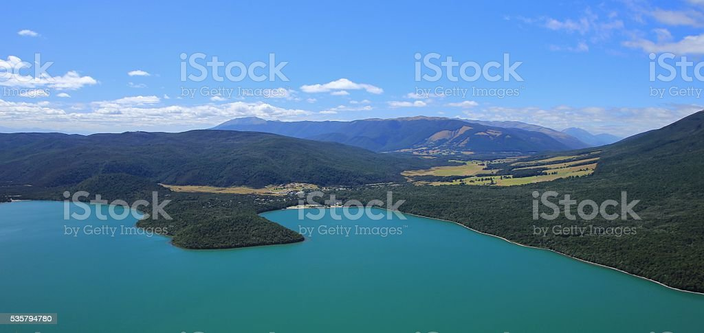 Turquoise Lake Rotoiti and village St Arnaud stock photo