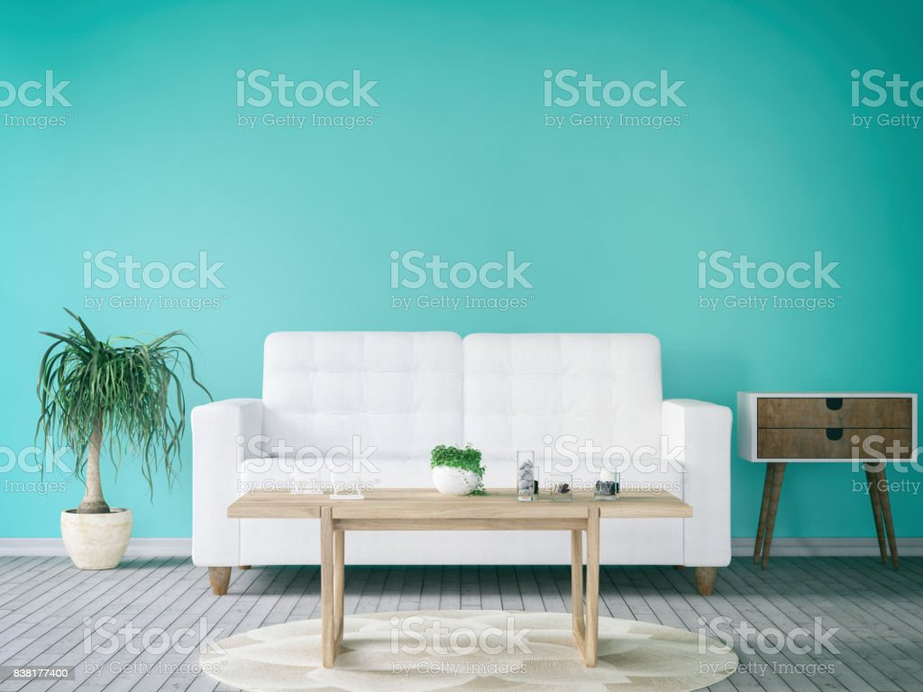 Turquoise Living Room stock photo