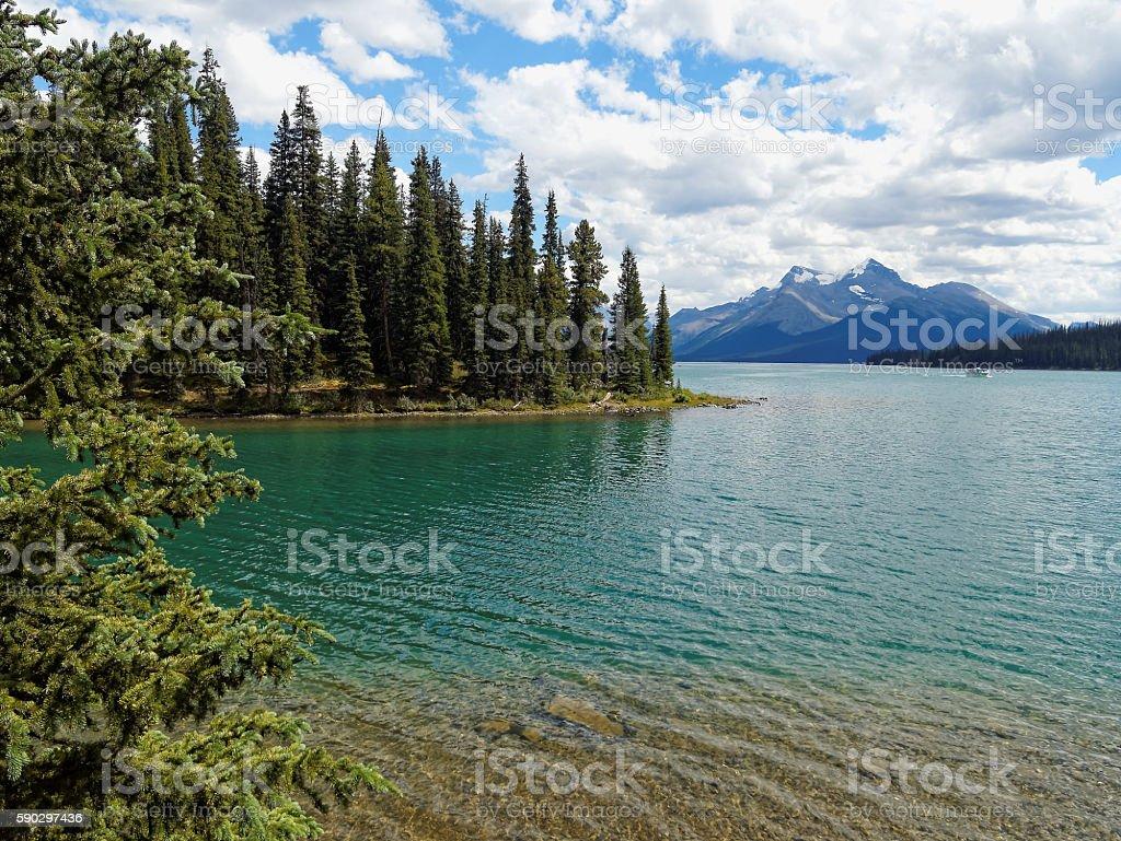 Turquoise Maligne Lake with Mountain Backdrop royaltyfri bildbanksbilder
