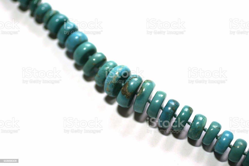Turquoise necklace - macro stock photo
