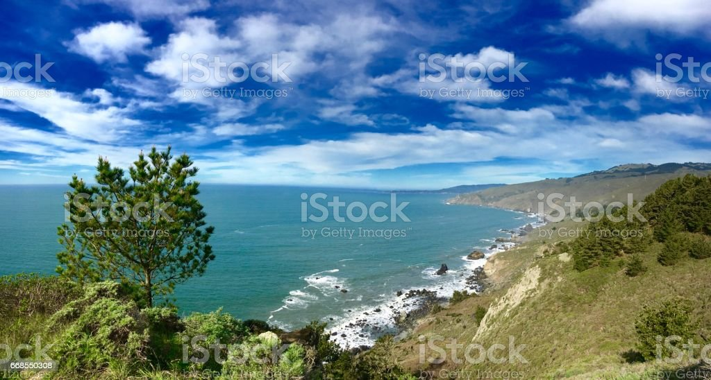 Turquoise Ocean and Blue Sky stock photo