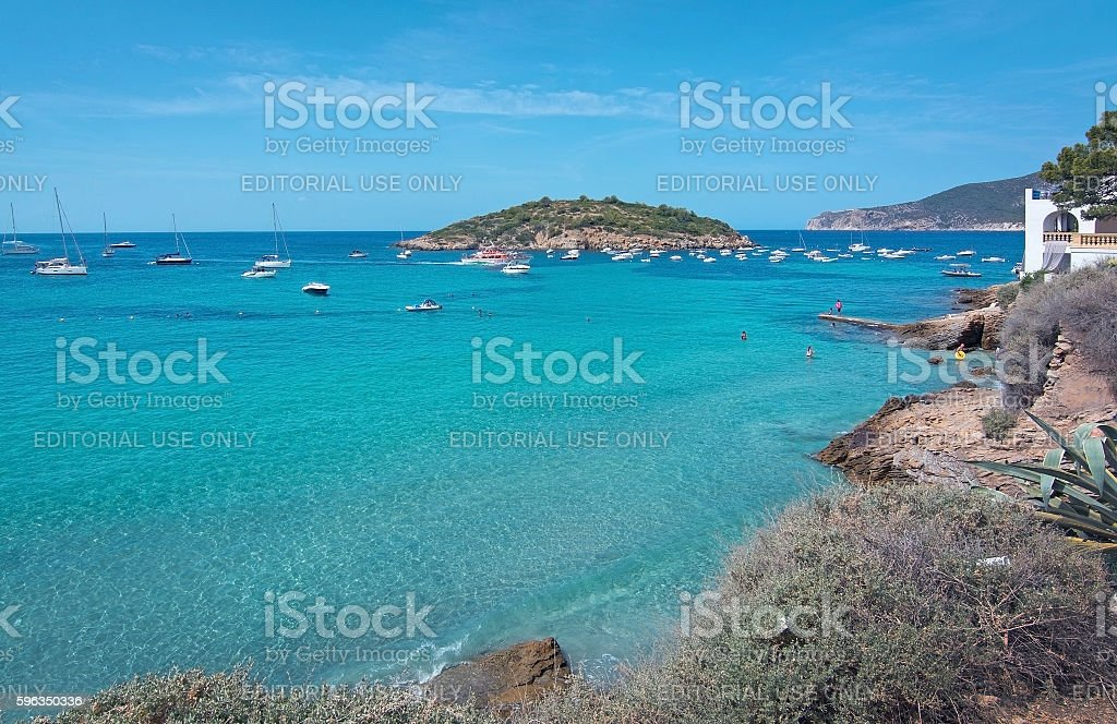 Turquoise ocean bay with boats Sant Elm royalty-free stock photo
