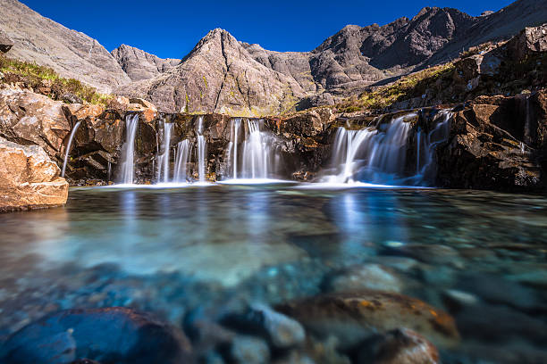 Turquoise pools in Scotland Turquoise pools, also called Fairy Pools,  in Isle of Skye, Scotland. isle of skye stock pictures, royalty-free photos & images