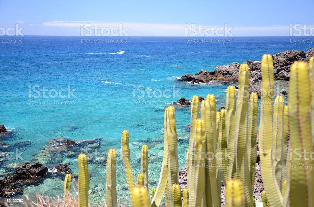 Turquoise rocky bay in Playa de San Juan, Tenerife, Spain stock photo