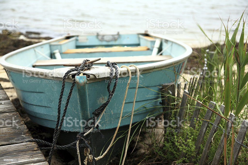 Turquoise Rowboat royalty-free stock photo