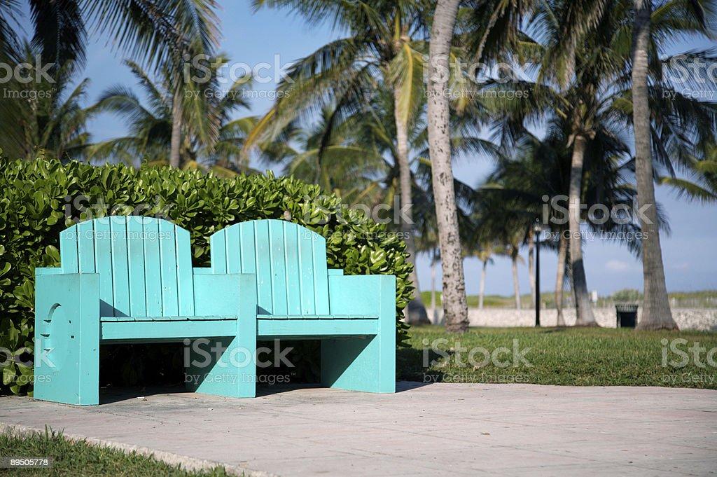 Türkis Sitze in Miami Beach Lizenzfreies stock-foto