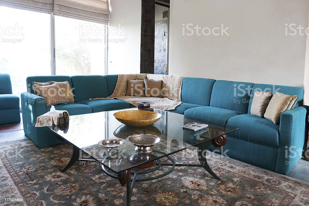Turquoise Sofa Set In Living Room Stock Photo More Pictures Of Angle Istock