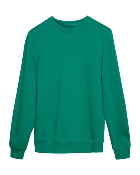türkisfarbenen sport sweatshirt mit dem leeren raum isoliert auf weiss - fleecepullover stock-fotos und bilder