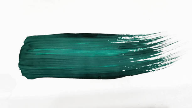 turquoise thick brush stroke isolated on a white background. - grosso imagens e fotografias de stock