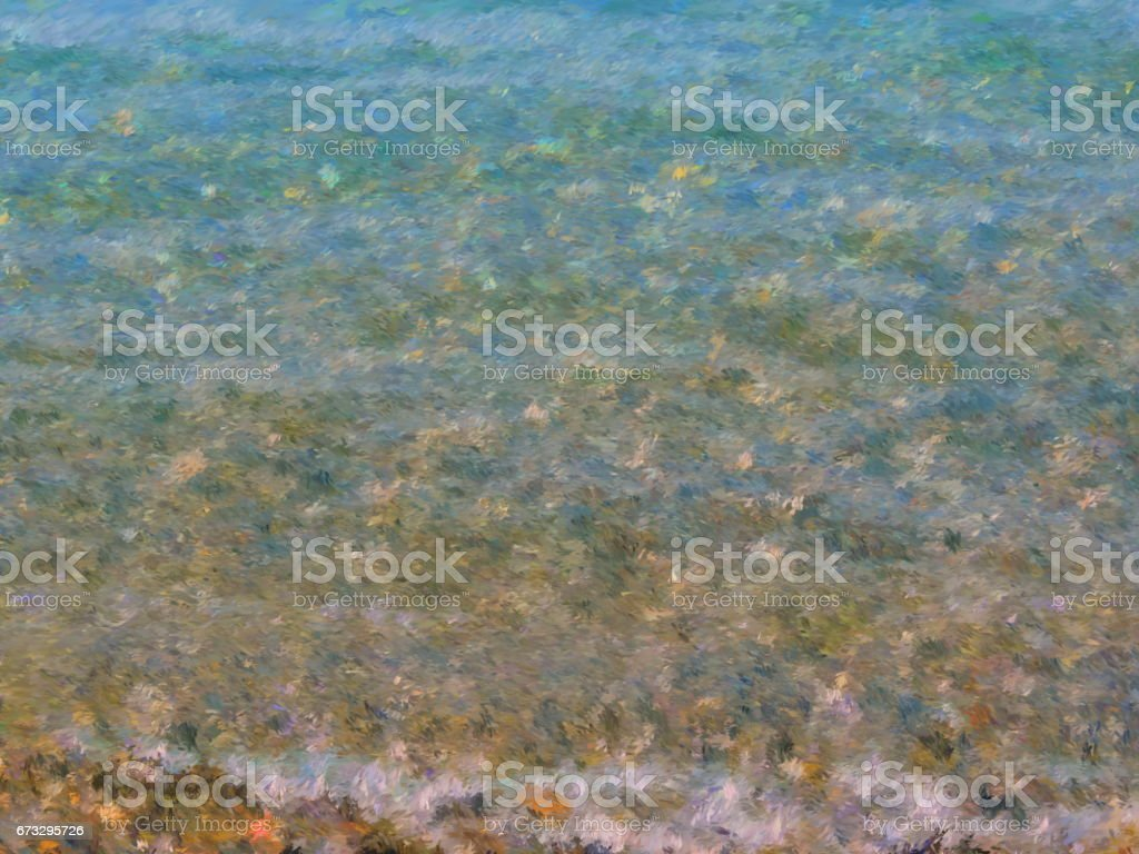 Turquoise transparent sea coastal water in the impressionist style. royalty-free stock photo