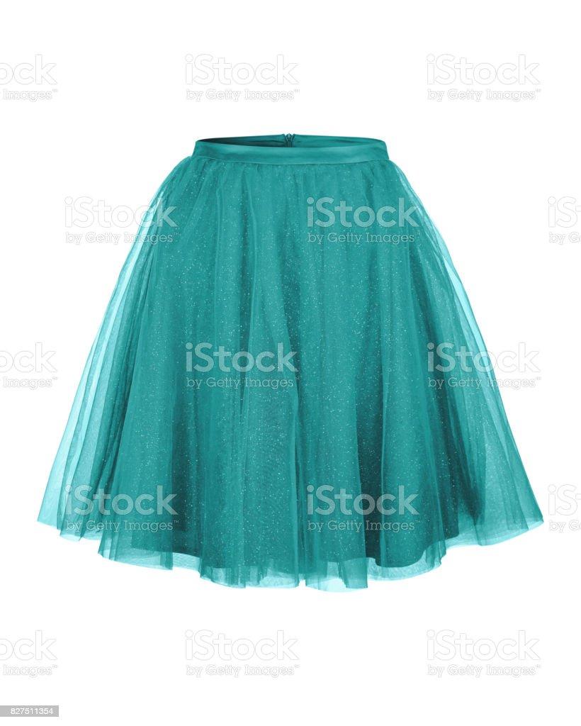 Turquoise tulle ballerina skirt isolated on white stock photo