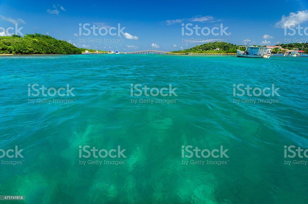 Turquoise Water and Bridge stock photo