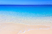 turquoise water and white sand of caribbean