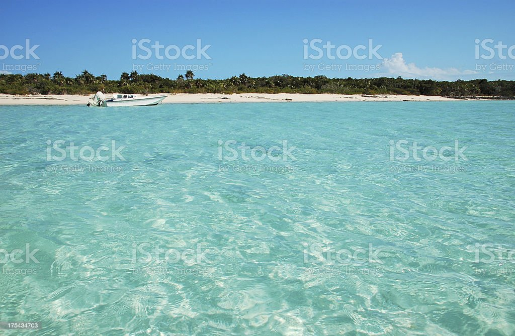 Turquoise water in the Bahamas stock photo