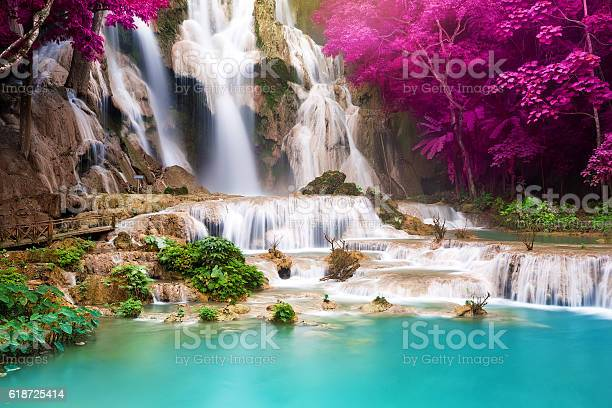 Photo of Turquoise water of Kuang Si waterfall, Luang Prabang. Laos