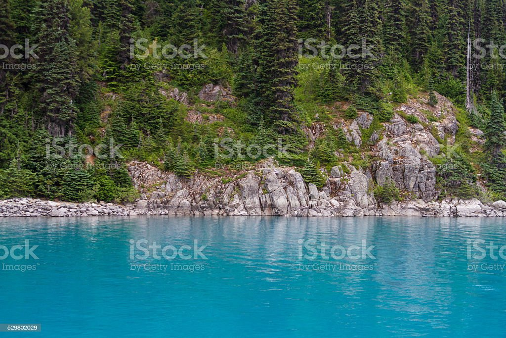 Turquoise Water of Lake Garibaldi, Canada stock photo
