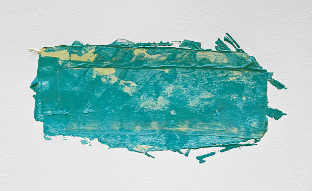 turquoise watercolor acrylic painting with brush on white paper - tempera painting stock pictures, royalty-free photos & images