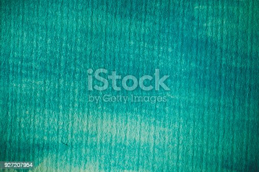 istock Turquoise watercolor background. Turquoise abstract texture and background for design. Turquoise  watercolor background on textured paper. Closeup of hand painted background. 927207954