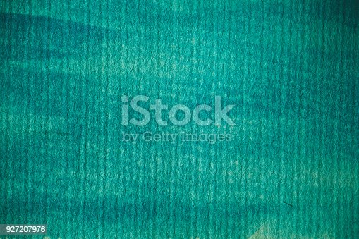 istock Turquoise watercolor background. Turquoise abstract texture and background for design. Turquoise  watercolor background on textured paper. Closeup of hand painted background. 927207976