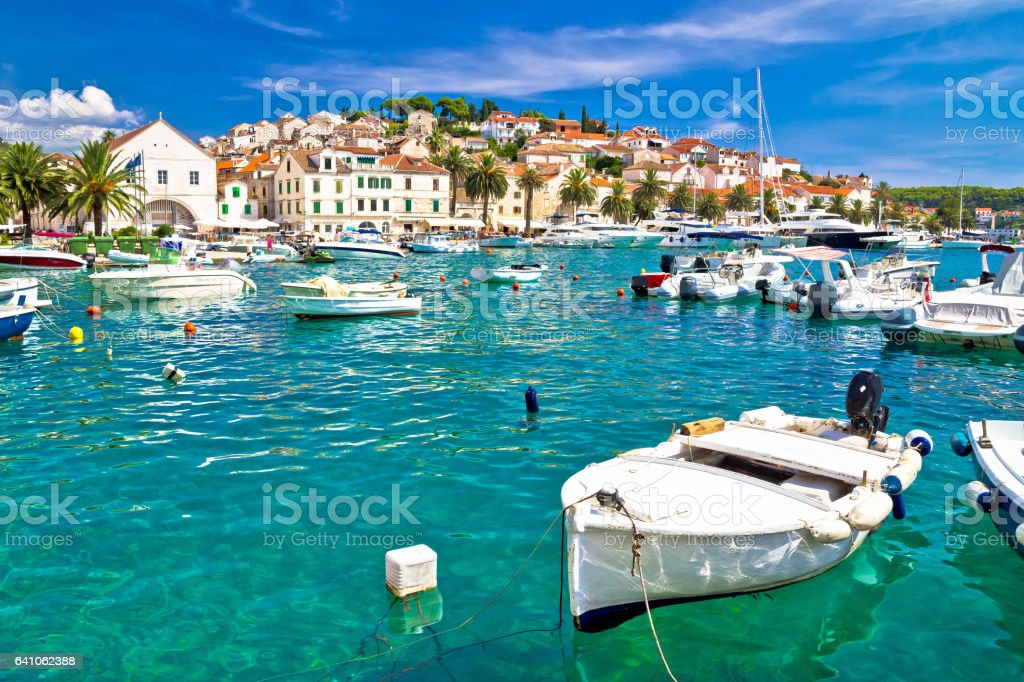 Turquoise waterfront of Hvar island in Dalmatia, Croatia stock photo