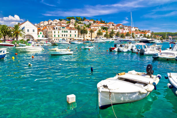 Turquoise waterfront of Hvar island in Dalmatia, Croatia Turquoise waterfront of Hvar island in Dalmatia, Croatia croatian culture stock pictures, royalty-free photos & images