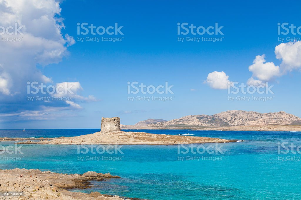 Turquoise waters at Stintino La Pelosa beach in Sardinia stock photo