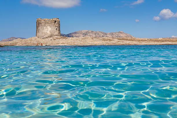 turquoise waters at stintino la pelosa beach in sardinia - sardegna foto e immagini stock