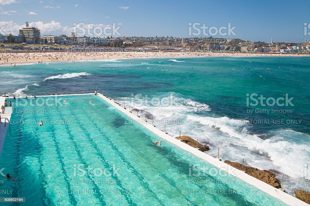 Turquoise waters of Bondi beach and swimming pool stock photo