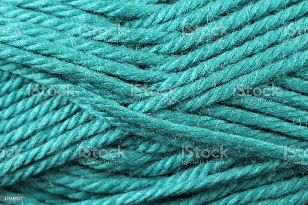 Turquoise Yarn Texture Close Up stock photo