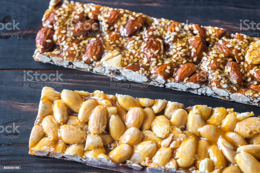 Turron bars on the wooden board stock photo