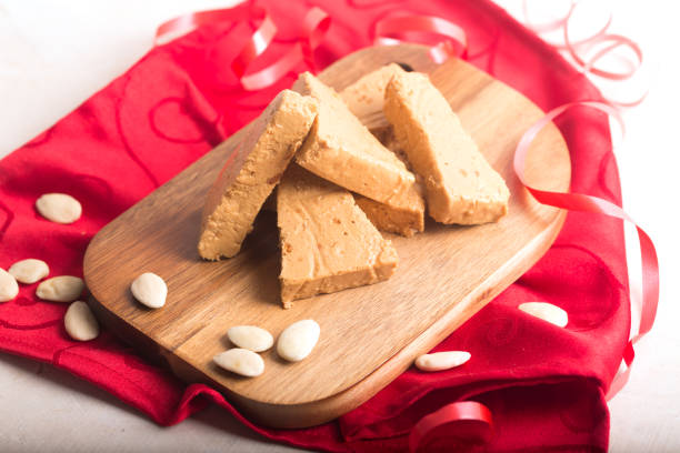 Turron is a typical Christmas food in Spain stock photo