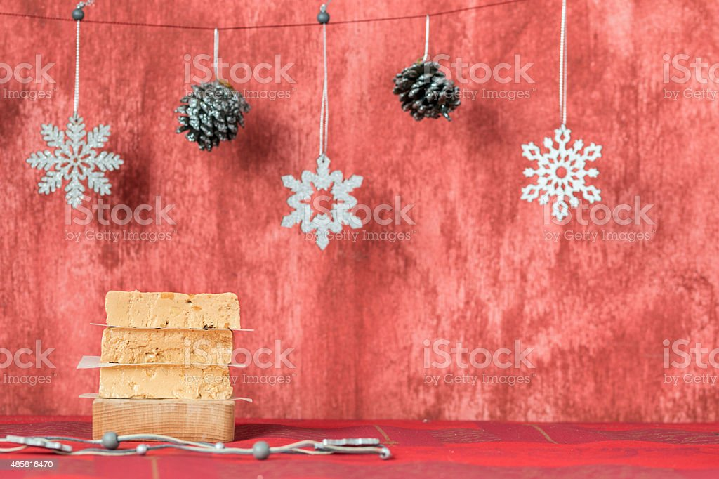 Turron, typical Spanish Christmas dessert for Christmas served i stock photo