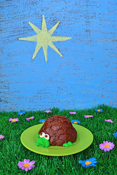 Turtle Cupcake with Summer Theme stock photo