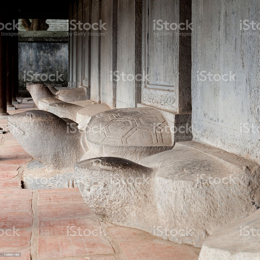 Turtle stone steles at Temple of Literature Van Mieu, Hanoi stock photo