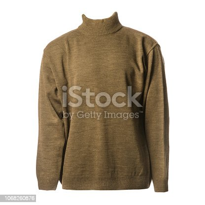 Brown male wool turtleneck sweater isolated on white background.