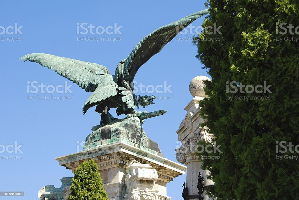 Turul bird in front of the Royal Castle in Budapest. royalty-free stock photo