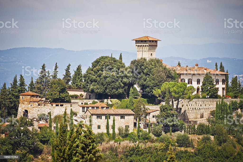 Tuscan Castle in the Chianti Region, Medieval Italian Architecture royalty-free stock photo