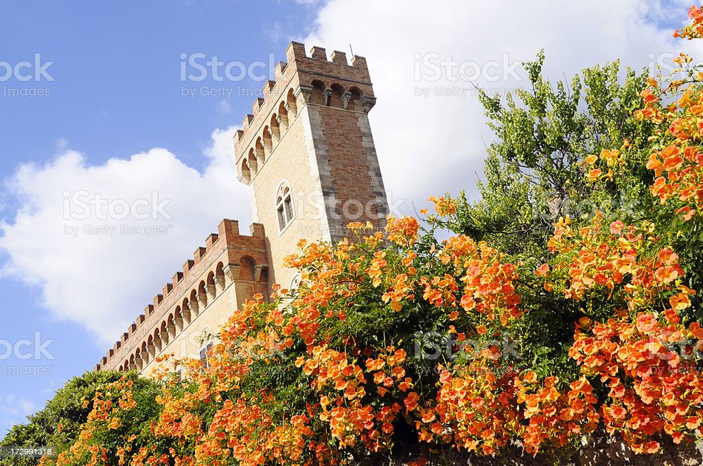 Tuscan Castle with flowers royalty-free stock photo