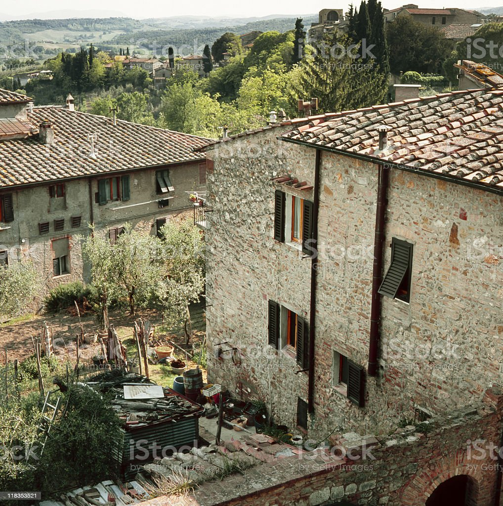 Tuscan cottage and typical landscape royalty-free stock photo